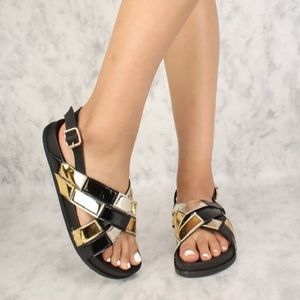 Ladies Patent Cross Sling Back Sandals BLACK